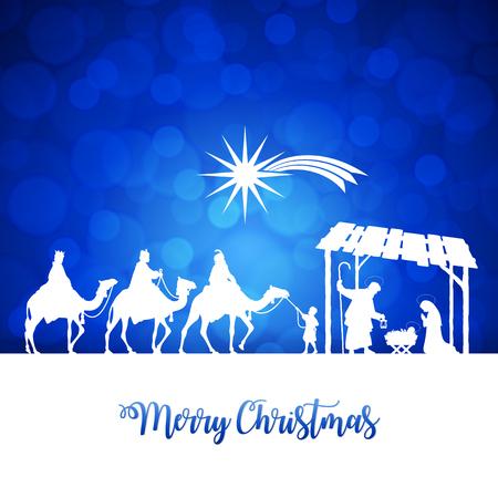 High detail Vector nativity Christmas Scene, Merry Christmas text on a blue background
