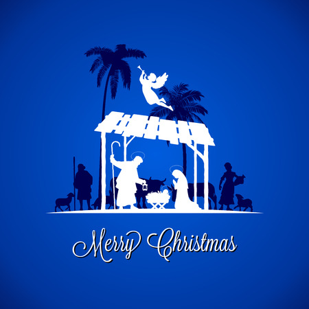 High detail Vector nativity Christmas Scene, Merry Christmas text on a blue background