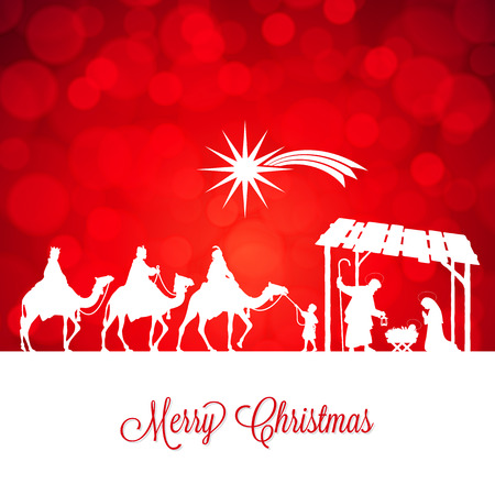 High detail Vector nativity Christmas Scene, Merry Christmas text on a red background Illustration