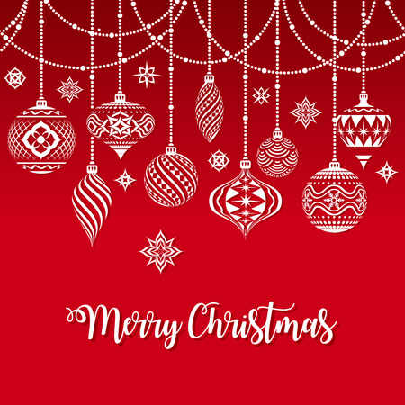 Vector Christmas Greeting Card with a texture of Typical Christmas ornaments illustration over a groovy Merry Christmas Text Illustration