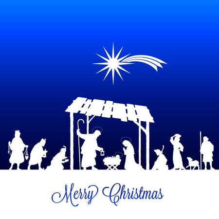 High detail Vector nativity Christmas Scene under a sky full of stars background