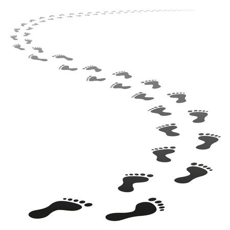 Perspectief Voetpad van vector voet tracks lopen weg van het oogpunt Stock Illustratie