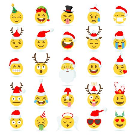 Grande insieme di 25 emoticon cartoonish di alta qualità vettoriale con tema natalizio. Archivio Fotografico - 86156808