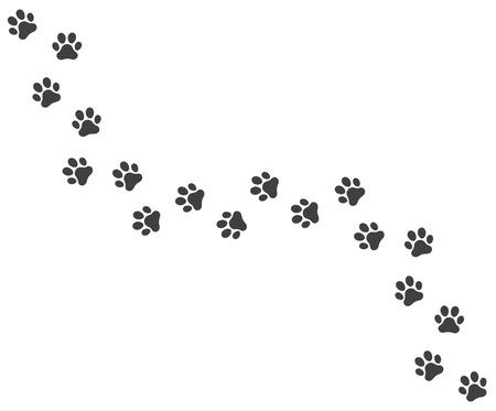Vector illustration of a Footpath trail of vector dog prints walking randomly 일러스트