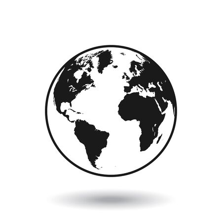 Detailed black world map, mapped on a globe, isolated on white background