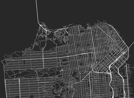 샌프란시스코와 주변지도의 모든 거리 벡터 배경.