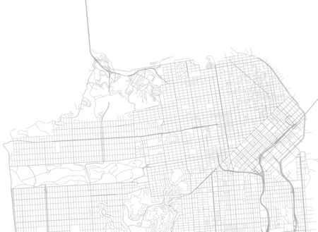 Vector background with all streets of San Francisco and surroundings map. Illustration