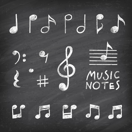 Hand Drawn chalk grunge notes and music symbols vector illustrations on a vector Chalkboard Background