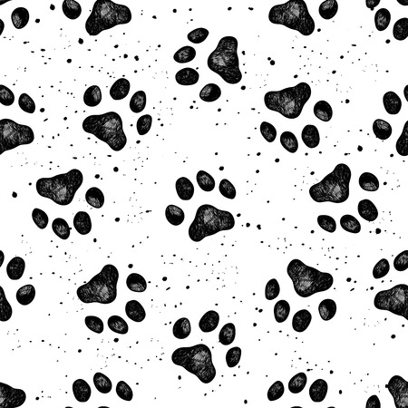 Vector illustration seamless texture composed with sketches of dog paw prints.