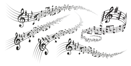 Five black vector musical score decorations with perspective deformation effects on white background