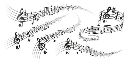 Cinco decoraciones de partituras musicales de vector negro con efectos de deformación de perspectiva sobre fondo blanco