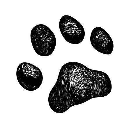 강아지 발 인쇄의 벡터 일러스트 스케치 일러스트