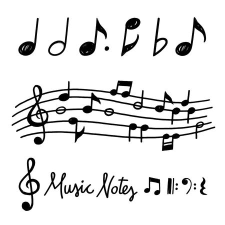 Hand getrokken krijt grunge notities en muziek symbolen vectorillustraties Stock Illustratie