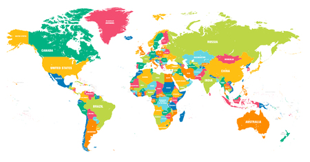Colorful Hi detailed Vector world map complete with all countries names Stock fotó - 87890461