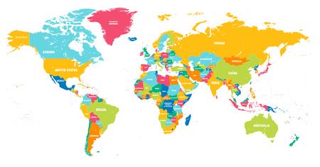 Carte du monde Hi coloré détaillée Vector complète avec tous les noms de pays Vecteurs