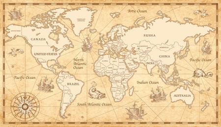 Groot detail Illustratie van de wereldkaart in vintage stijl.