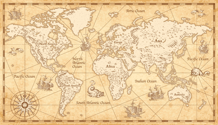Great detail Illustration of the world map in vintage style on old parchment background.