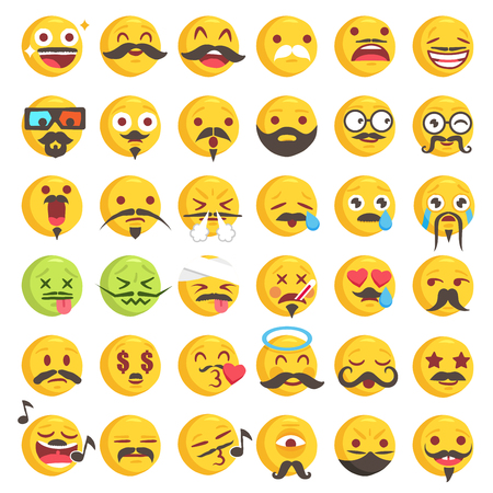 Big Set of 36 high quality vector cartoonish emoticons, in rough hand-drawn design style all with funny beard or moustache styles Illustration