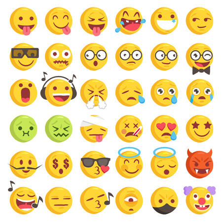 Big Set of 36 high quality vector cartoonish emoticons, in rough hand-drawn design style