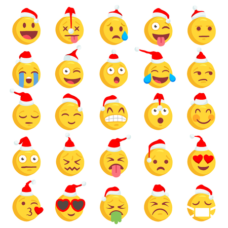Big Set of 36 Christmas high quality vector cartoonish emoticons, in rough hand-drawn design style