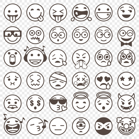 Big Set of 36 high quality vector cartoonish emoticons, in outlined black and white design style