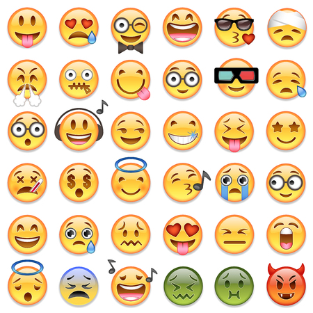 Big Set of 36 high quality vector cartoonish emoticons, in glossy traditional style