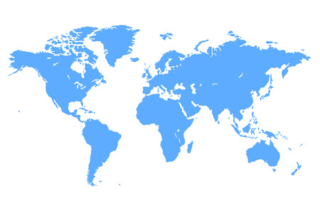High quality Blue simple vector map of the world
