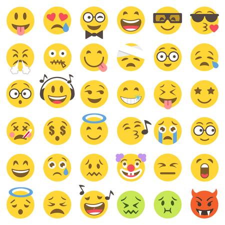 Big Set of 36 high quality vector cartoonish emoticons, in flat style