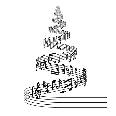 Black and White vector illustration of a Christmas tree composed of a flowing music score with random musical notes