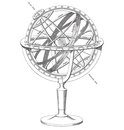 High quality black and white vector illustration of an historical Armillary Sphere engraving.