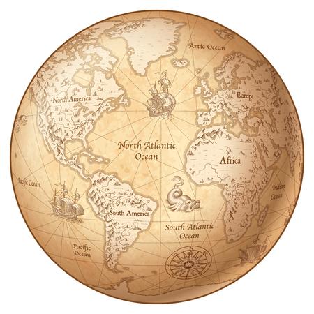 Vektorkugel, die eine Weinlese erläuterte Karte der Welt kennzeichnet. Standard-Bild - 89747545