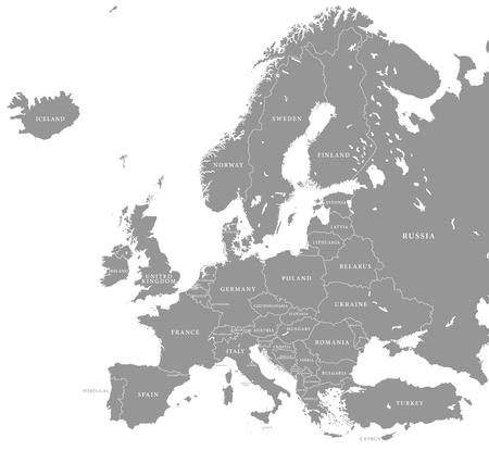 Vector illustratie van een grijze kaart van Europa met donkere Europese landen Stock Illustratie