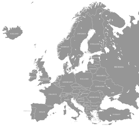 Vector illustration of a Grey Europe map with Dark european countries Ilustração