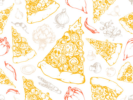 Seamless Texture Pattern with hand Drawn high detail Vector illustration of Pizza Slices with many different tastes and also single illustrations of many vegetable ingredients