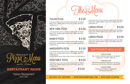 Restaurant Menu Template with hand Drawn high detail Vector illustration of Pizza Slices with many different tastes and also single illustrations of many vegetable ingredients