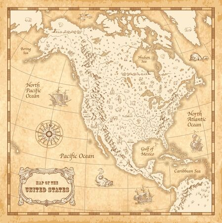 Great Detail Illustration of the North America map in vintage style with mountains, trees, cities and main rivers on a old parchment background decorated with many original illustrations.