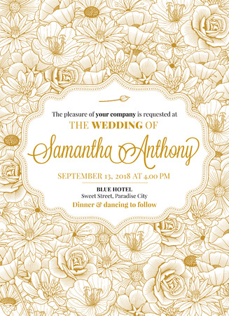 Wedding invitation greeting Card design with beutifully drawn Flower decorations