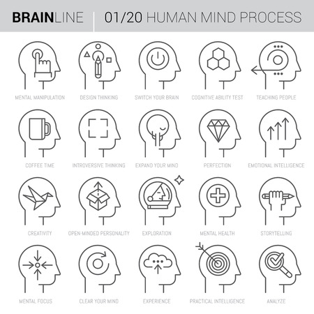 Collection of twenty vector icons showing mind processes inside human mind in thin vector line style.