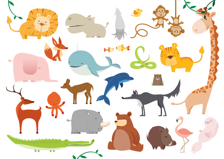 Set of 24  cute cartoon Wild Animals