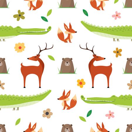 Really cute cartoon Wild Animals  pattern Illustration