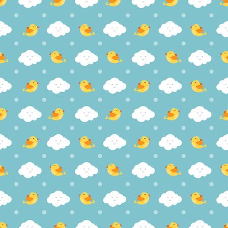 Really cute cartoon birds and clouds seamless pattern vector illustration Ilustração