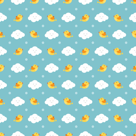 Really cute cartoon birds and clouds seamless pattern vector illustration Illustration