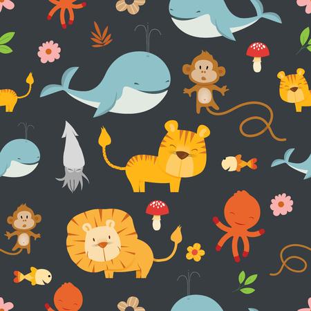 Really cute cartoon Wild Animals seamless pattern vector illustration