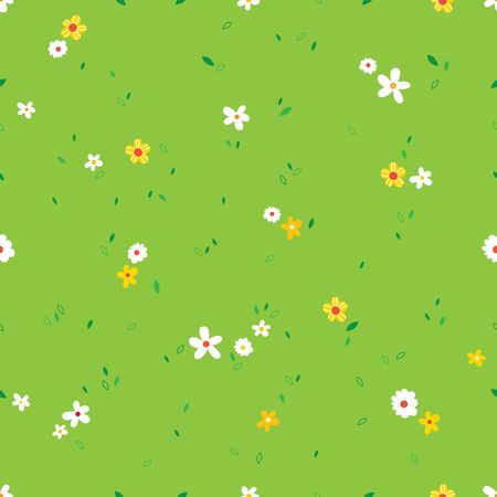 Vector illustration of a green grass field with flowers blooming Illustration