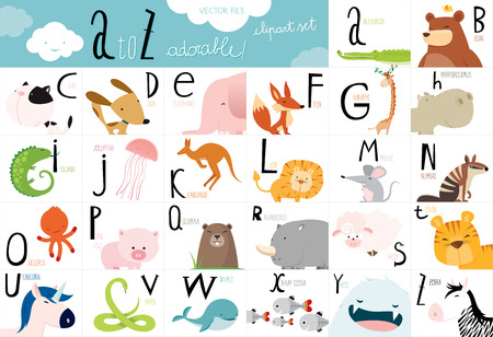 Alphabet table with every letter illustrated with a cute animal vector illustration