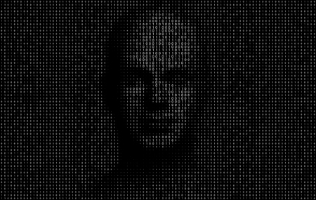 Vector Illustration of binary code numbers composing a human face