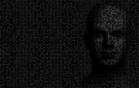 Vector Illustration of binary code numbers composing a human face on the right side of the illustration