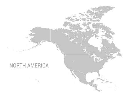 Vector illustration of North America map with grey countries and white borders 일러스트