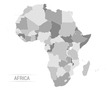 Vector Illustration of Africa Continent in Greyscale color Illustration