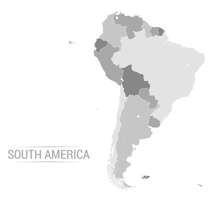 Vector illustration of South America map with grey countries and white borders